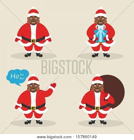 Set of cute character Santa clauses in different poses. Santa with the bag, with gift, waving his hand. Modern flat design. Beautiful afroamerican male. Black people.