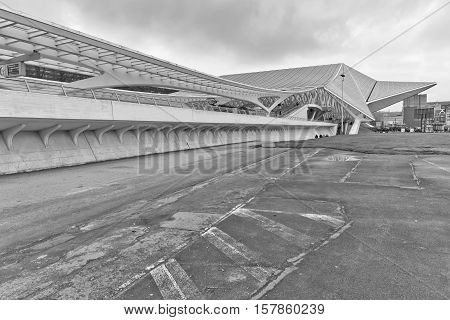 LIEGE BELGIUM - December 2014: Side view of the Liege-Guillemins railway station designed by Santiago Calatrava. Black and white photograph