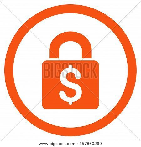 Pay Lock vector rounded icon. Image style is a flat icon symbol inside a circle, orange color, white background.