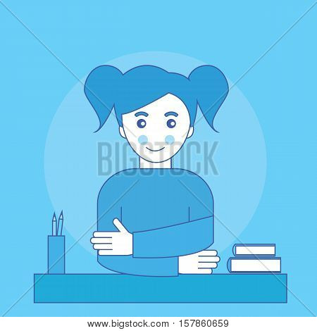 Girl sits at a table with books and pencils. Schoolgirl. Vector illustration.
