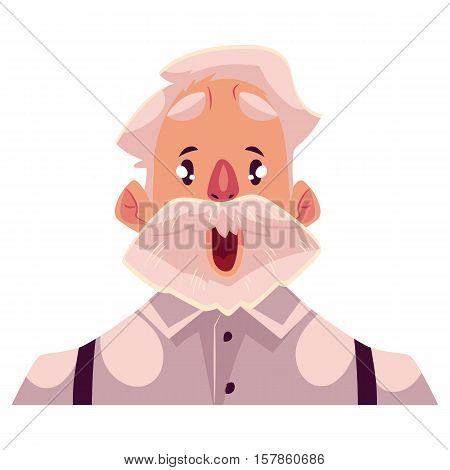 Grey haired old man face, surprised facial expression, cartoon vector illustrations isolated on background. Old man, grandfather emoji surprised, shocked, amazed, astonished. Surprised face expression