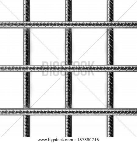 Reinforcement bars on white background. 3D rendering