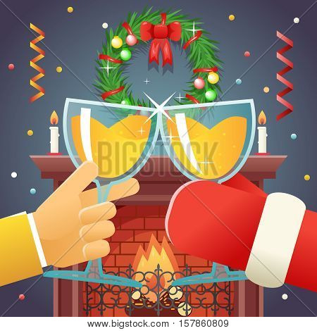 Christmas with Santa Claus Celebration Success and Prosperity Symbol Hands Holds a Glasses with Drink Icon Stylish Fireplace Background Flat Design Vector Illustration