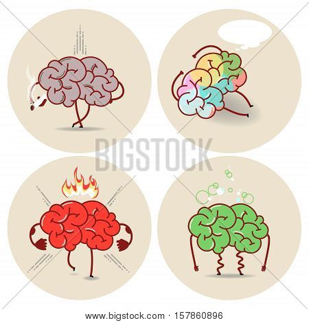 Brain cartoon various kinds of bad habits. Anger addict poisoning smoking. Vector isolated set of images