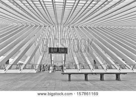 LIEGE BELGIUM - December 2014: Abstract view on the roof of the Liege-Guillemins railway station designed by Santiago Calatrava. Black and white photograph