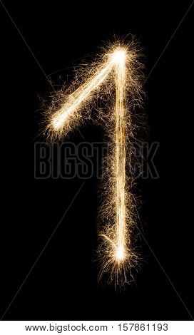 New year font made from sparkler firework on black background. Number one. Illuminated math figure pattern