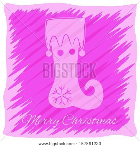 Christmas or New Year's greeting card. Vector logo, emblem design. Bright pink and purple stripes painted carelessly. Transparent silhouette of a Christmas boot. Usable for banners, greeting cards, gifts etc.