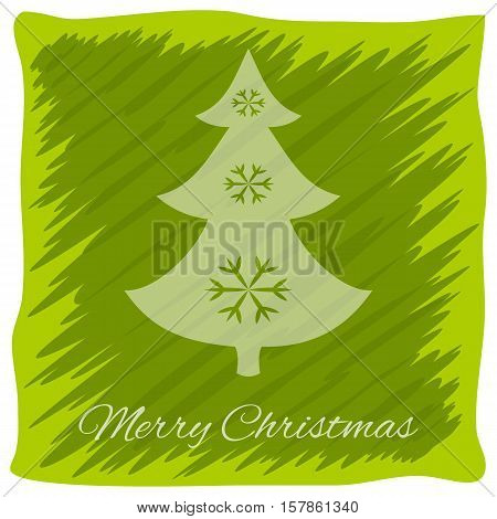 Christmas or New Year's greeting card. Vector logo, emblem design. Bright green stripes painted carelessly. Transparent silhouette of a Christmas tree decorated with snowflakes. Usable for banners, greeting cards, gifts etc.
