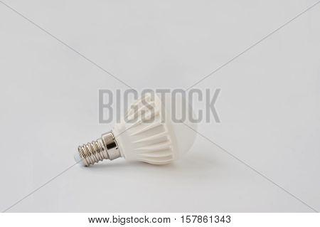 Led Bulb 60 V 6 Watt E14 On White Background.