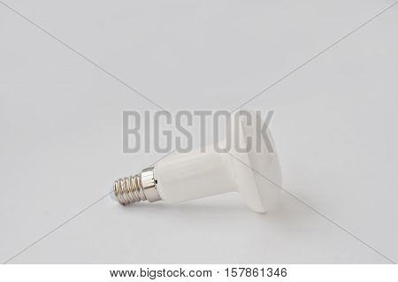 Led Bulb 50 V 5 Watt E17 On White Background.