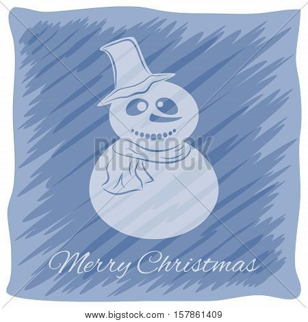 Christmas or New Year's greeting card. Vector logo, emblem design. Bright blue stripes painted carelessly. Transparent silhouette of a snowman in a hat and scarf. Usable for banners, greeting cards, gifts etc.