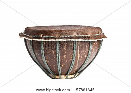 Original african djembe drum with leather lamina with beautiful hair  on white background