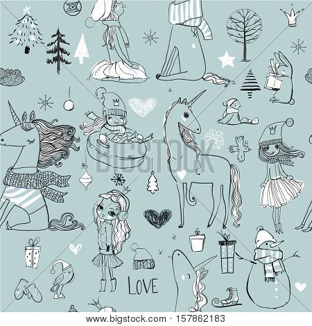doodle seamless pattern with winter hand drawn princess with unicorn