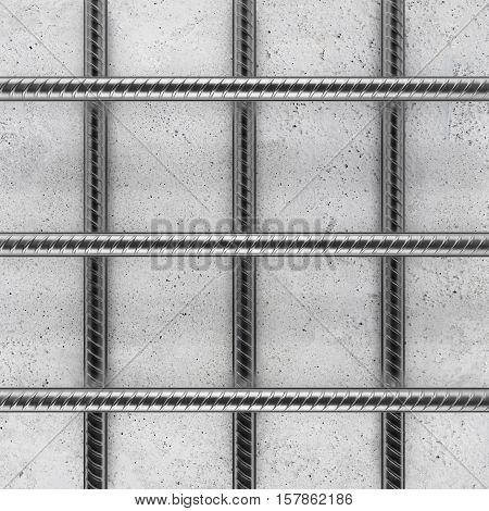 Reinforcement bars on concrete background. 3D rendering