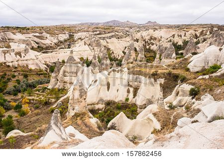 Beautiful geological formations in Cappadocia in Turkey