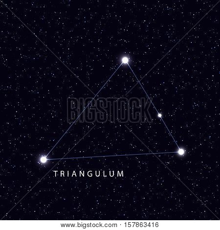Sky Map with the name of the stars and constellations. Astronomical symbol constellation Triangulum