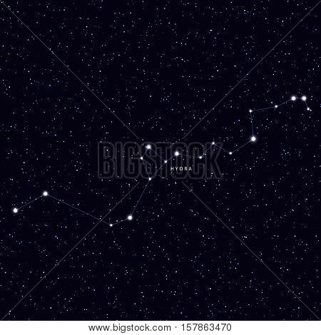 Sky Map with the name of the stars and constellations. Astronomical symbol constellation Hydra