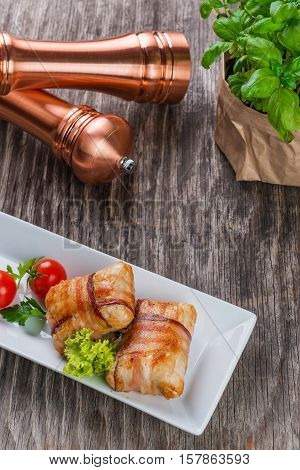 Delicious Chicken Rolls On Rustic Wooden Table