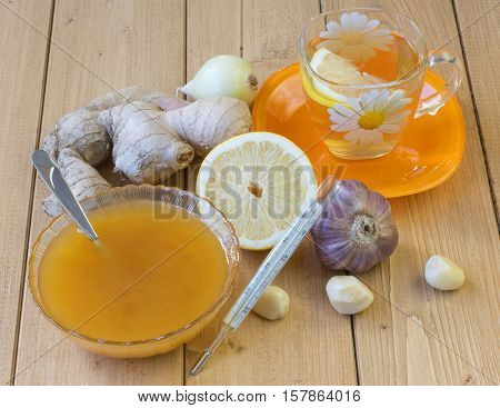 The Root Of Ginger And Honey On Wooden Table.
