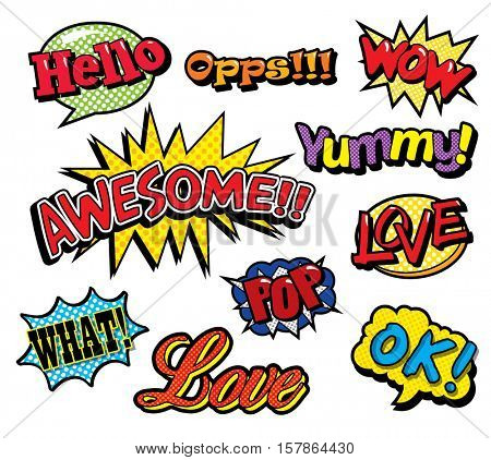 Pop art patches set with letterings. Vector illustration isolated on white background in cartoon 80s-90s comic style.