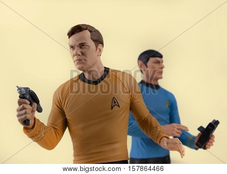 Captain Kirk and Mr Spock toys recreate a scene from Star Trek