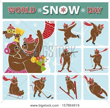 World snow day.Brown bear champion standing on pedestal.Winter sport icons.Competitions , Awarding of the winners.Vector Humorous illustration, cartoon flat bear.International sport day