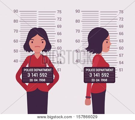 Mugshot of a young white woman taken after arrest. Cartoon vector flat-style concept illustration