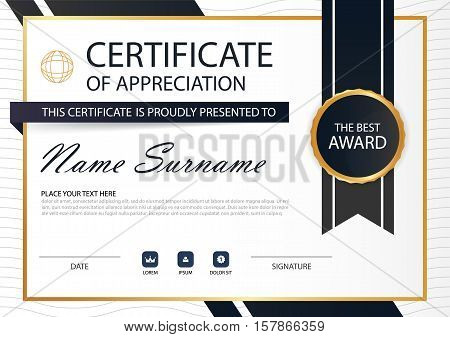 Gold black Elegance horizontal Circle certificate with Vector illustration white frame certificate template with clean and modern pattern presentation
