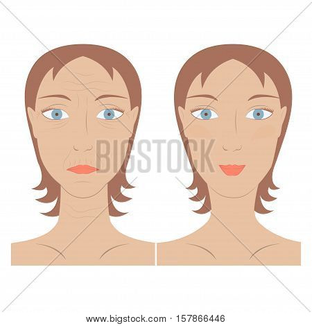 Vector illustration of beauty and skin care woman face before and after rejuvenation facelift. Concept of skin aging. Portrait of Young and old person.
