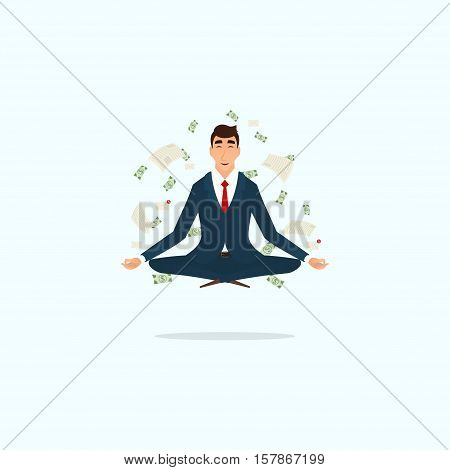 Successful businessman doing yoga in lotus pose. Human sitting and mindful meditating in lotus asana in zen peace. Vector illustration.