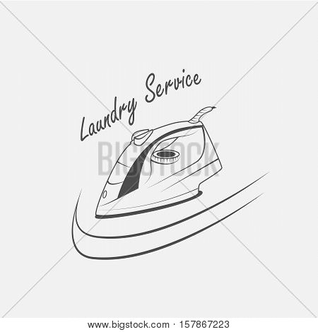 laundry service electric iron vector icon - vector