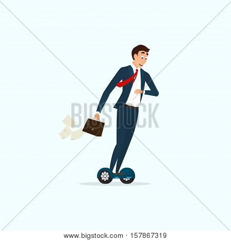 Businessman moving on hoverboard. Person looking on watch. Human is late for work. Cartoon character isolated on light-blue background. Vector illustration.