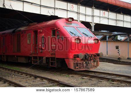 COLOMBO, SRI LANKA - MARCH 26, 2015: Diesel locomotive of the passenger train closeup. Central railway station Colombo