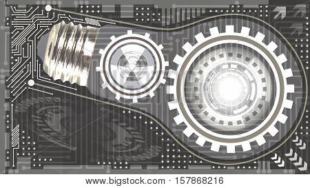 Abstract technological background with light bulb gears and microchip of grey and white shades. Concept of light bulb with gears inside mechanism. Business background