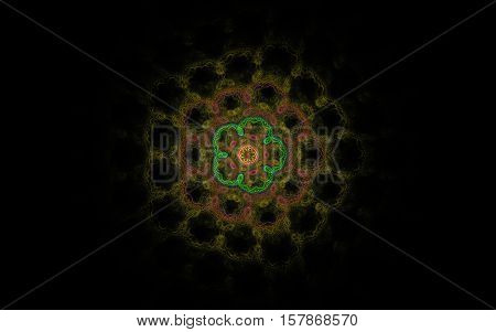 Fractal cinquefoil with green petals and loop round the middle of the color in the frame of dark orange and brown patterns in the form of a honeycomb on a black background.