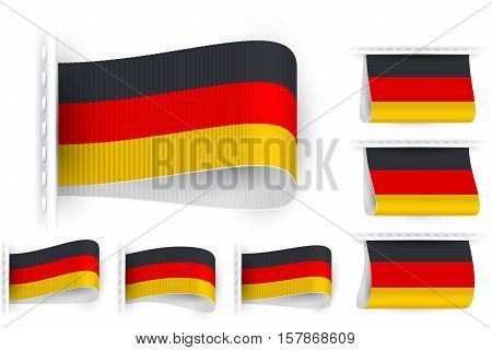 National state flag of Germany Deutschland; Sewn clothing label tag; Vector icon set flags Eps10