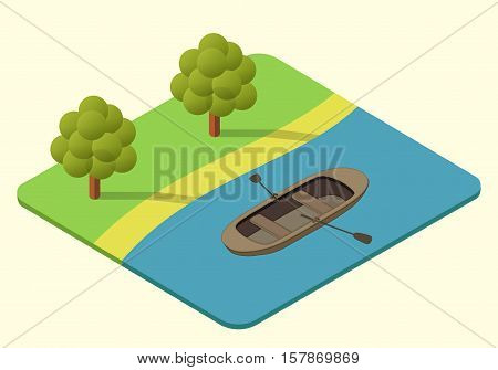 wooden rowing boat vector isometric illustration. dinghy axonometric. rowboat picture
