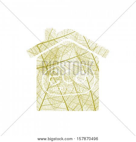 House of autumn leaves on a white background