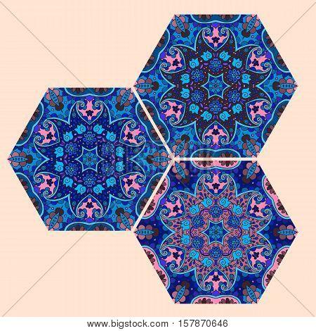 Vector set of hexagonal ceramic tiles in cobalt and blue tones. Oriental motives.