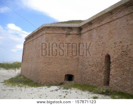 The brick walls of Fort Massachusetts on West Ship Island, Gulf Islands National Seashore, Gulf of Mexico, Mississippi