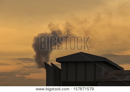 Industrial Smoke From Chemical Factory In Thailand