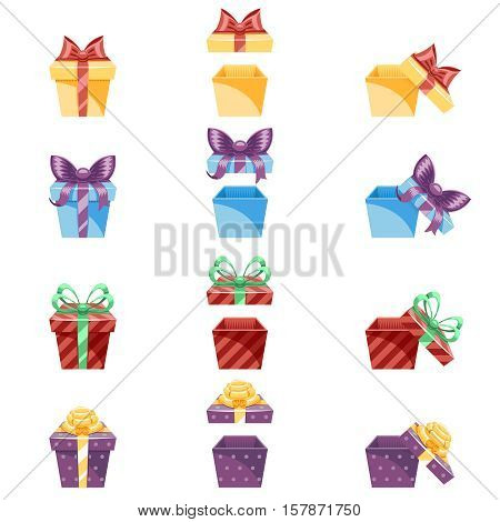 Gift Box New Year and Cartoon Flat Design Icon Set Template Vector Illustration