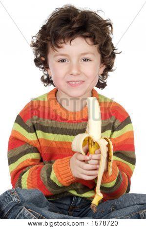 Child Eating A Banana