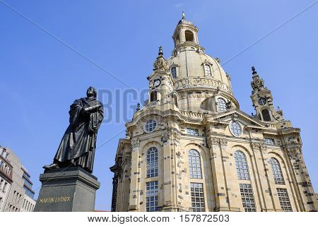 View on the Dresden Frauenkirche and the monument of Martin Lüther -Dresden Germany - 11.09.2016.