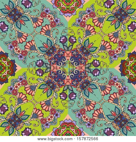 Detailed floral seamless pattern - 4. Vector background. Beautiful bandana print. Lovely tablecloth.