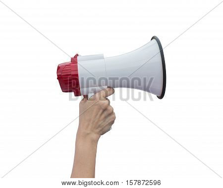 Hand Holding White Megaphone Isolated On White. Saved With Clipping Path