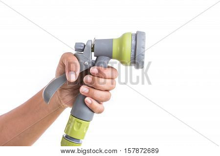 Close Up Hand Holding Spary Gun Isolated On White