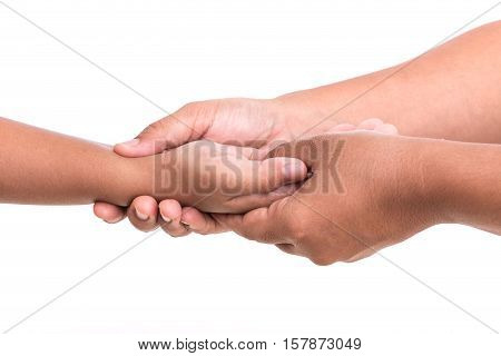 Woman's Hand Holding Children's Hand Isolated On White Background. Hand Pain Concept.