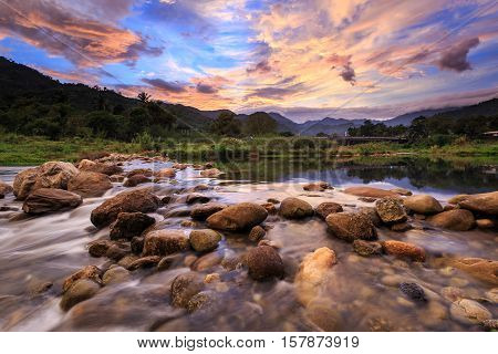 Small River And Beautiful Sunset In Kiriwong Village. The Best Ozone Location In Thailand