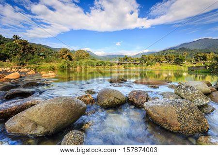 Landscape Of Small River And Beautiful Sky In Kiriwong Village, Lan Saka District..